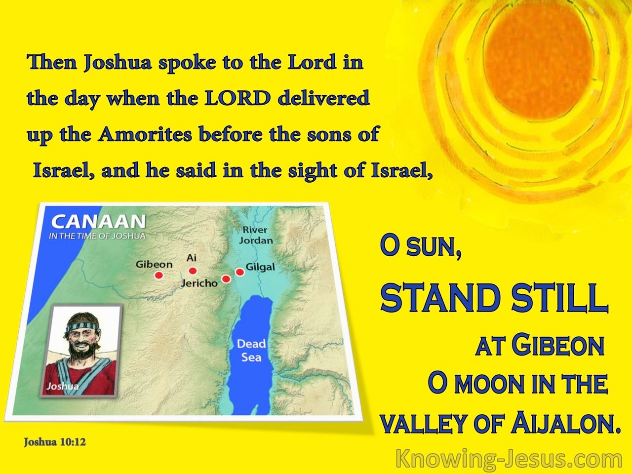 Joshua 10:12 Joshua Said Sun Stand Still (yellow)